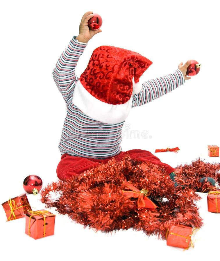 Bebê com chapéu do Natal imagens de stock royalty free
