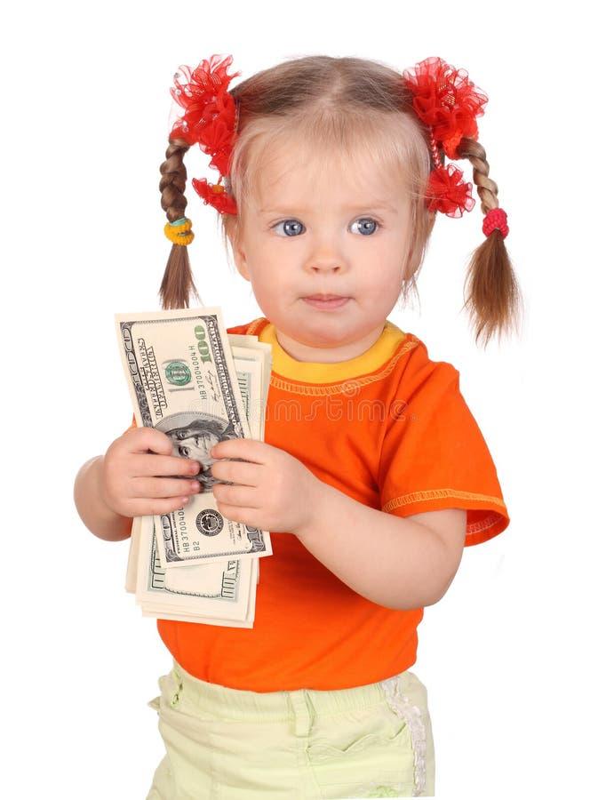Bebê com dinheiro à disposicão. imagem de stock royalty free