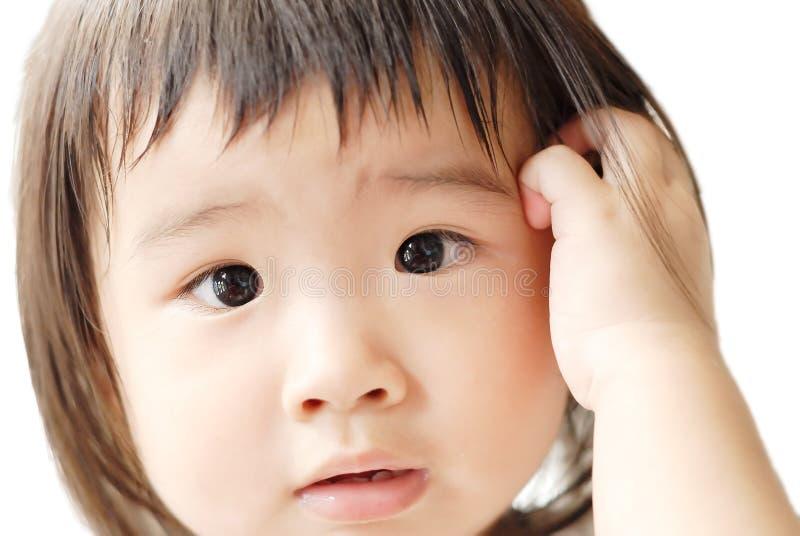 Bebê com face confusa