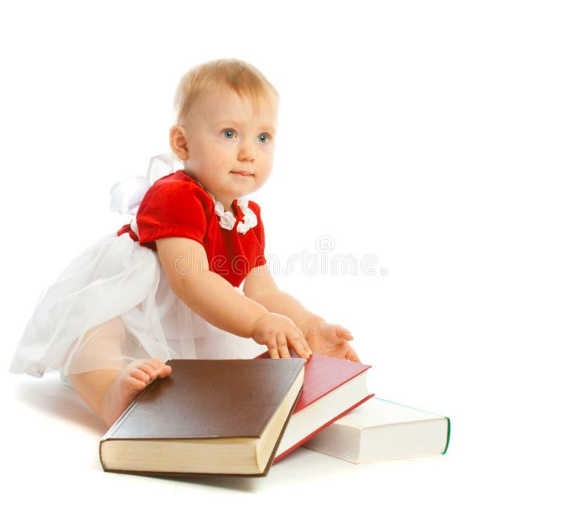 Bebê com livros fotos de stock royalty free