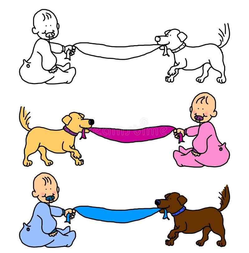 Bebê com o cão que puxa o cobertor ou a bandeira ilustração do vetor