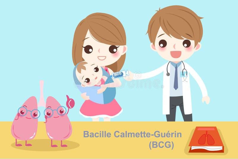 Bebê com o guerin do calmette do bacille ilustração do vetor