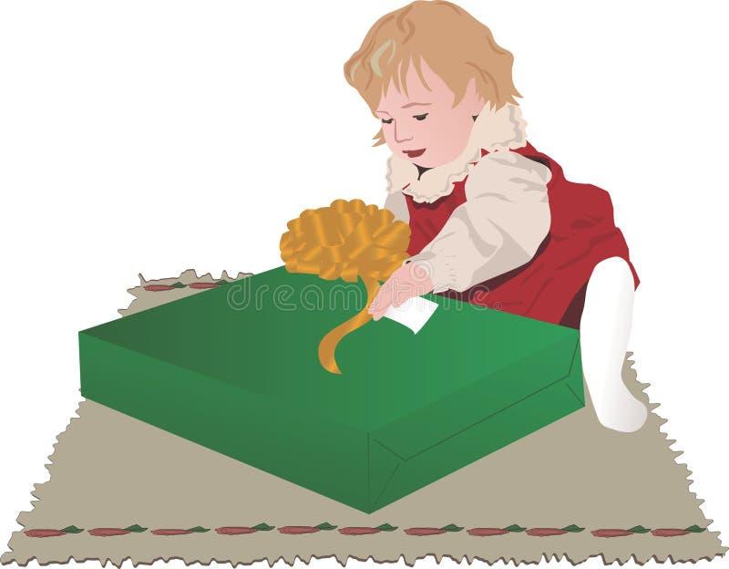 Bebê com presente de Natal ilustração royalty free