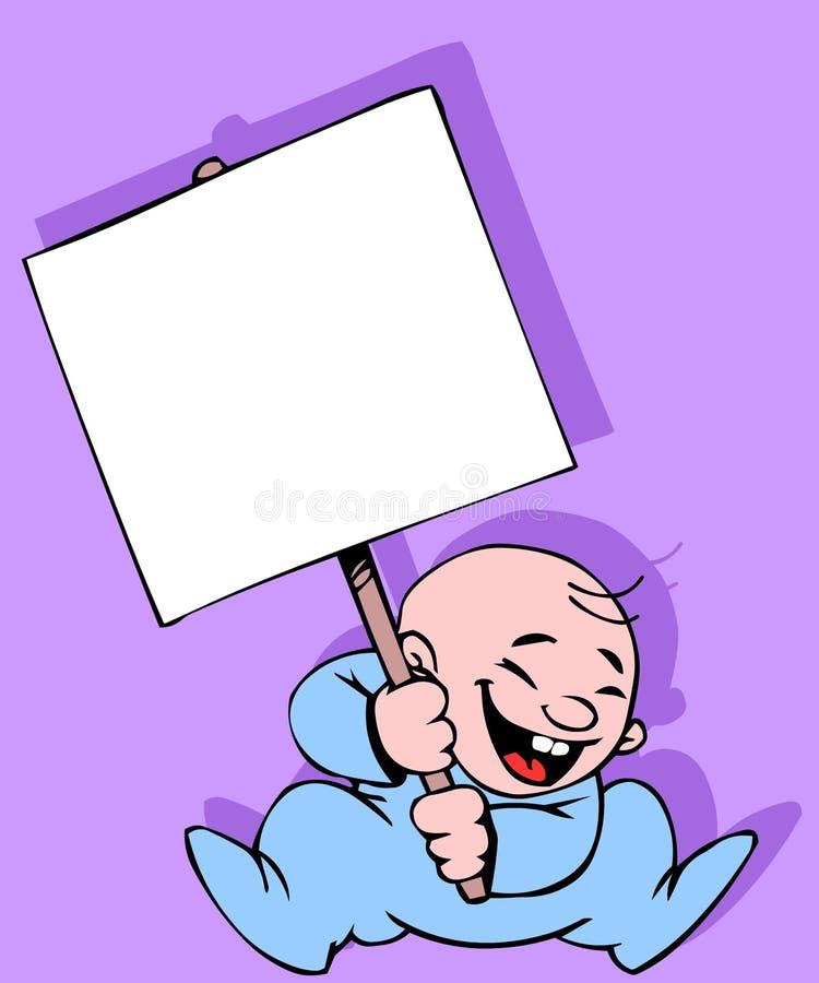 Bebê com uma bandeira ilustração stock