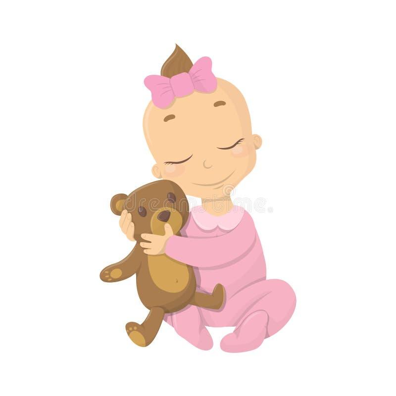 Bebê com urso ilustração do vetor