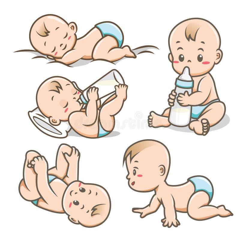 Bebê com várias poses/coleção da ilustração vetor das atividades ilustração stock