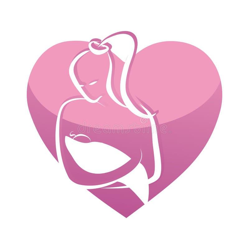 Bebê da terra arrendada da matriz na forma cor-de-rosa do coração ilustração do vetor