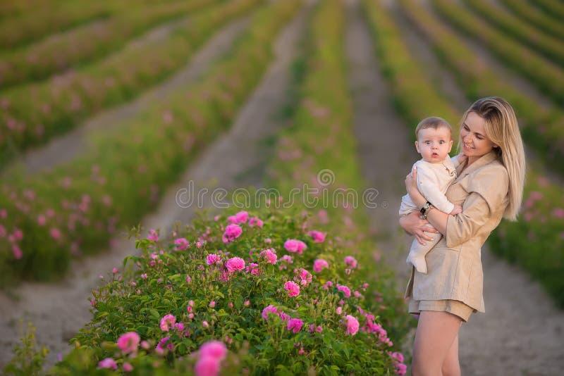 Bebê da terra arrendada da mulher no campo completamente de arbustos de rosas Estação de verão motherhood Tempo da família fotos de stock royalty free