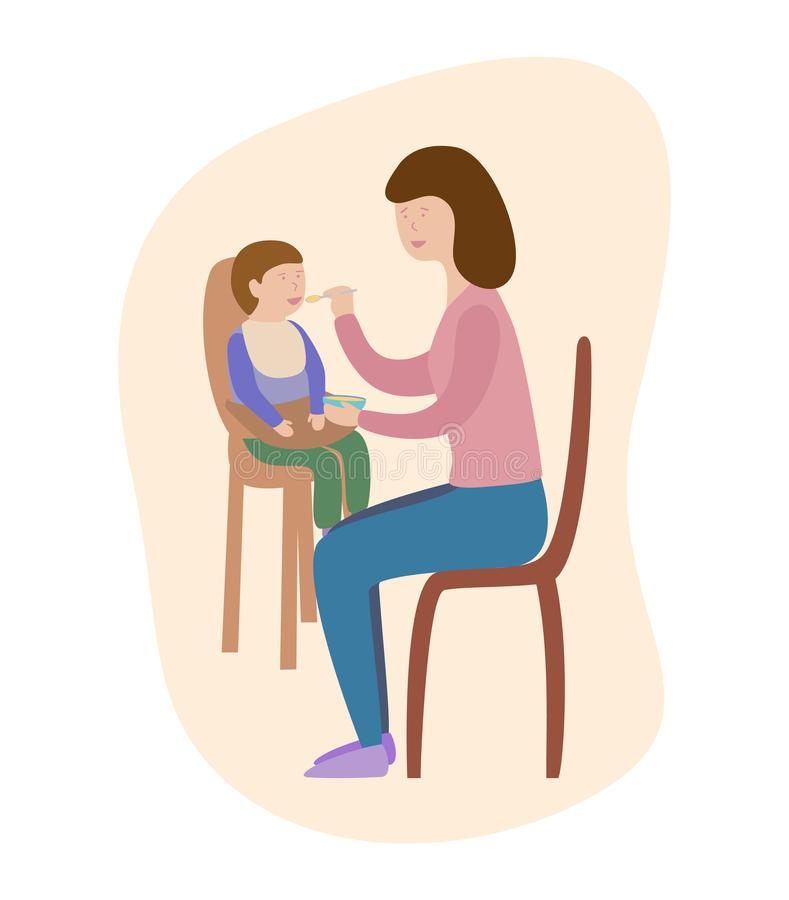 Bebê de alimentação da mãe com colher Ilustração do vetor ilustração stock