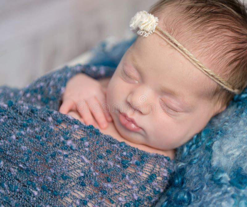 Bebê de sono recém-nascido bonito fotografia de stock royalty free