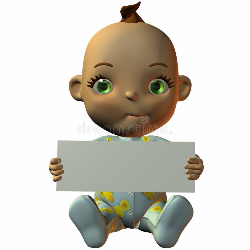 Bebê de Toon com sinal ilustração do vetor