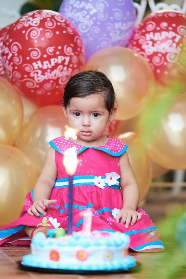 Bebê de um ano do bebê foto de stock