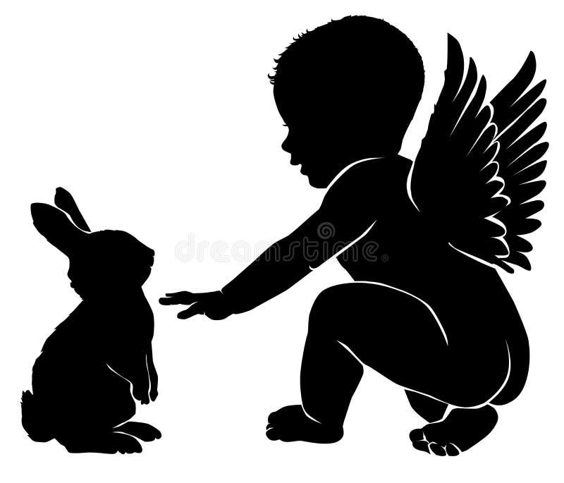 Bebê do anjo com coelhinho da Páscoa ilustração do vetor