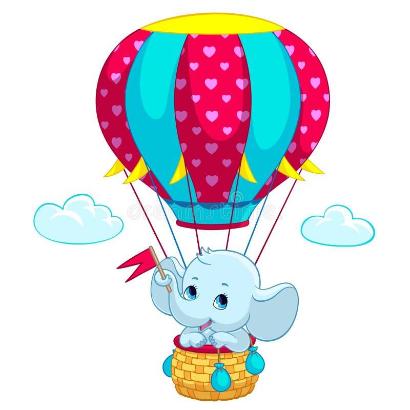 Bebê do elefante na ilustração do vetor dos desenhos animados do balão de ar quente ilustração stock