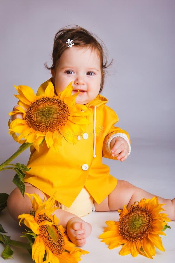 Bebê do girassol fotos de stock royalty free