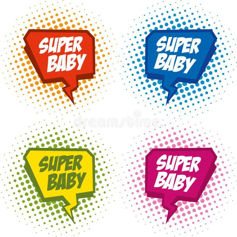 Bebê do logotipo do super-herói, fundo do pop art ilustração do vetor