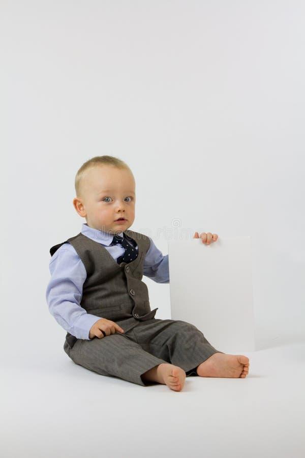 Bebê do negócio no terno fotografia de stock royalty free