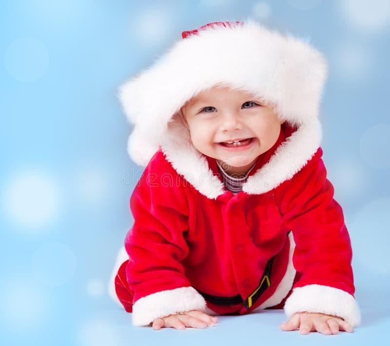 Bebê doce que desgasta o traje de Santa foto de stock royalty free