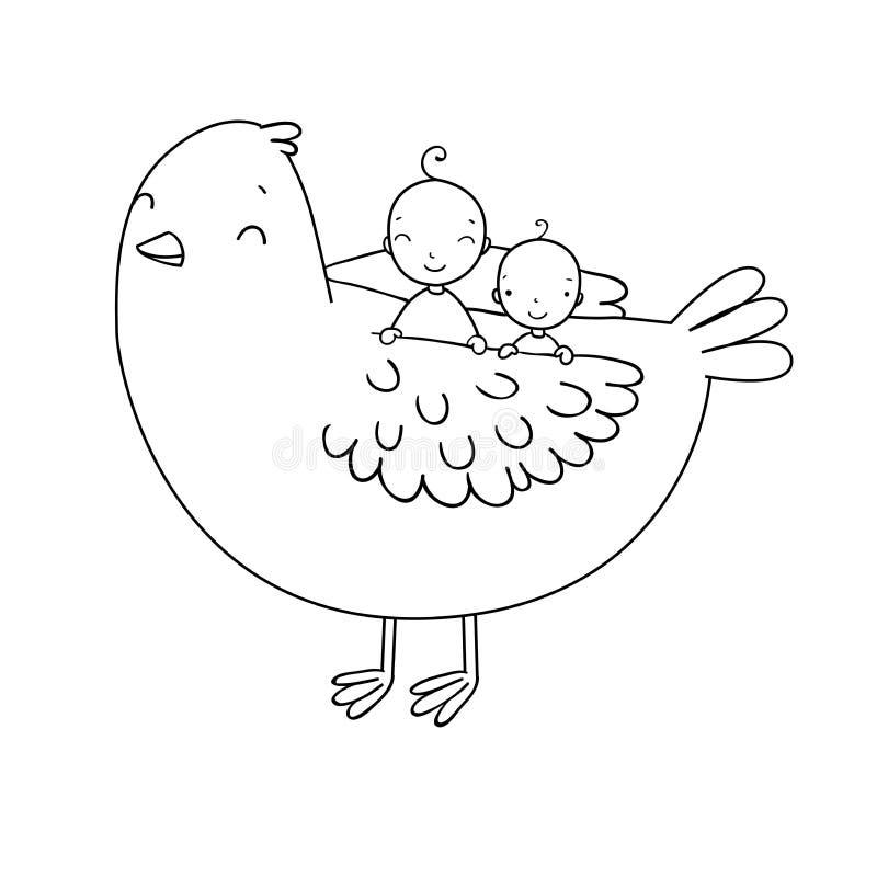 Bebê dois bonito e um pássaro ilustração royalty free