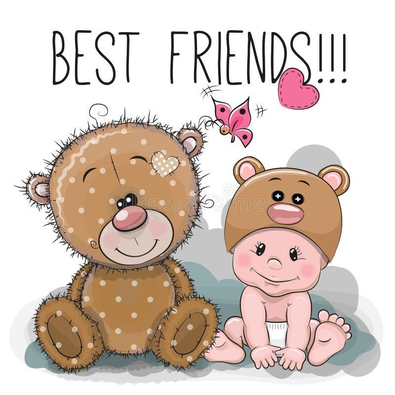 Bebê dos desenhos animados em um chapéu e em um Teddy Bear do urso ilustração royalty free
