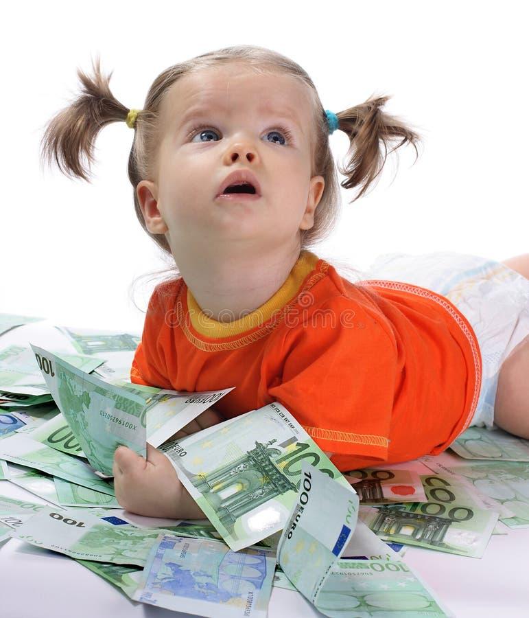 Bebê e euro. fotos de stock royalty free