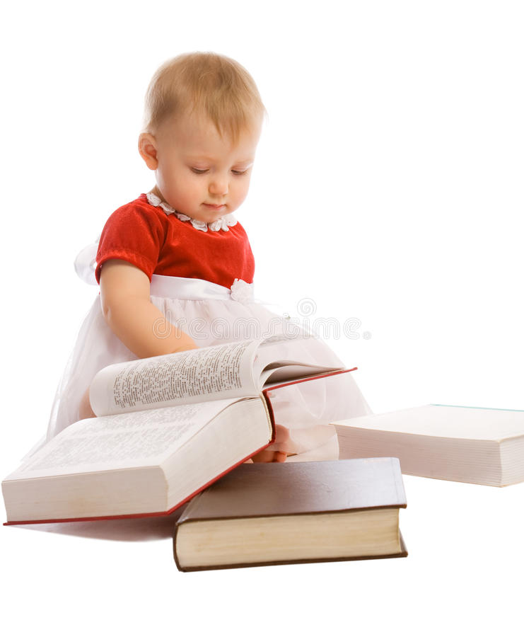 Bebê e livros fotos de stock