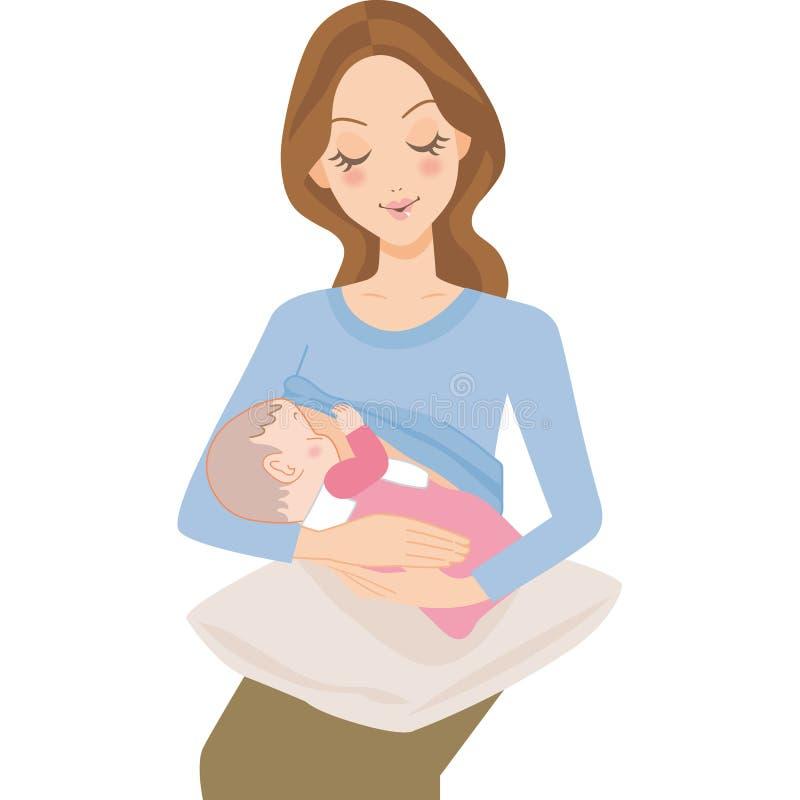 Bebê e matriz ilustração do vetor