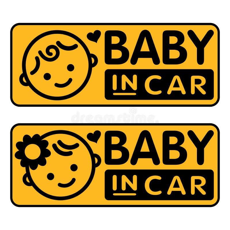 Bebê e menina, bebê na etiqueta do carro ilustração royalty free