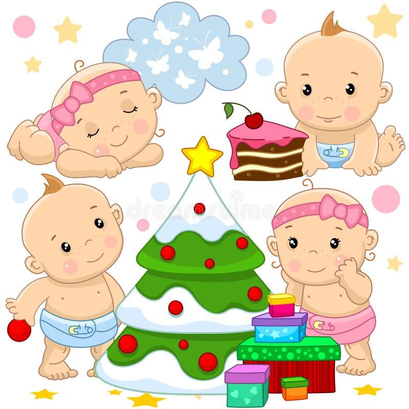 Bebê e menina 2 porções ilustração royalty free