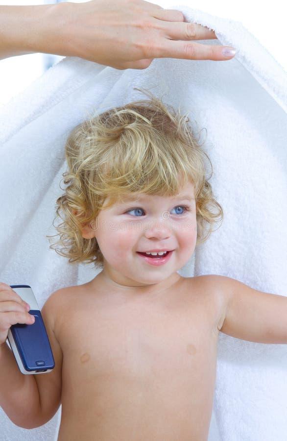 Bebê e toalha foto de stock royalty free