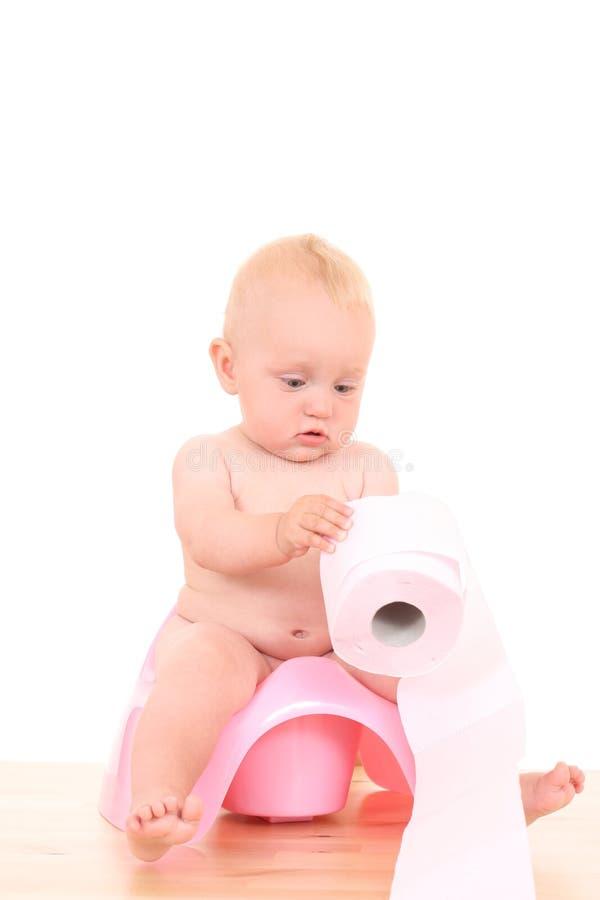 Bebê em potty fotografia de stock royalty free