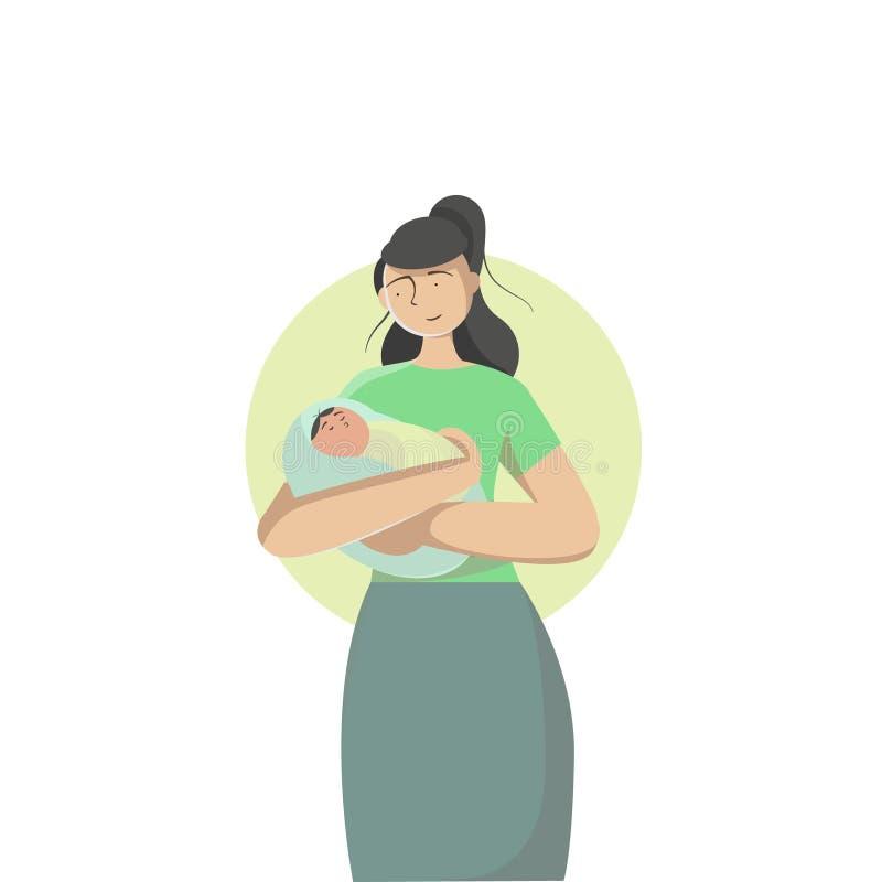 Bebê em um abraço macio da mãe, dia de mães, infante ilustração do vetor