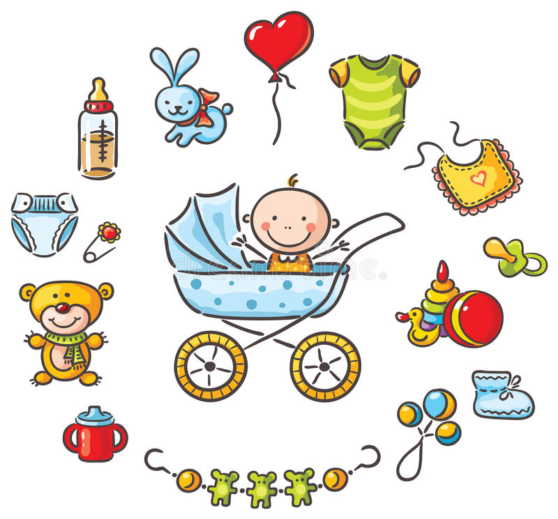 Bebê em um bebê-transporte com coisas do bebê ilustração royalty free