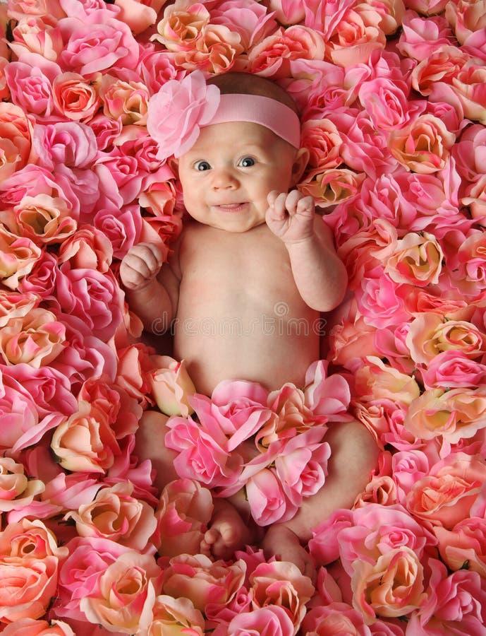 Bebê em uma cama de rosas fotografia de stock royalty free