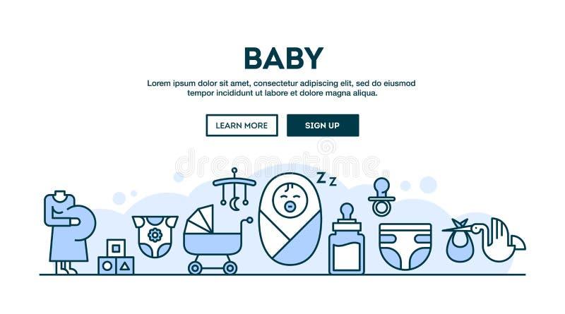 Bebê, encabeçamento do conceito, linha fina estilo do projeto liso ilustração royalty free