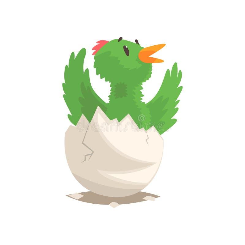Bebê engraçado do pássaro que choca do ovo ilustração stock