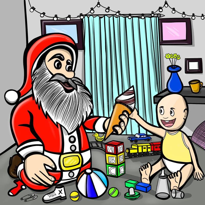 Bebê entusiasmado ao ver Papai Noel dar-lhe o gelado ilustração stock