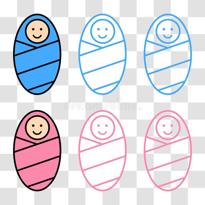 Bebê envolvido no cobertor ilustração stock