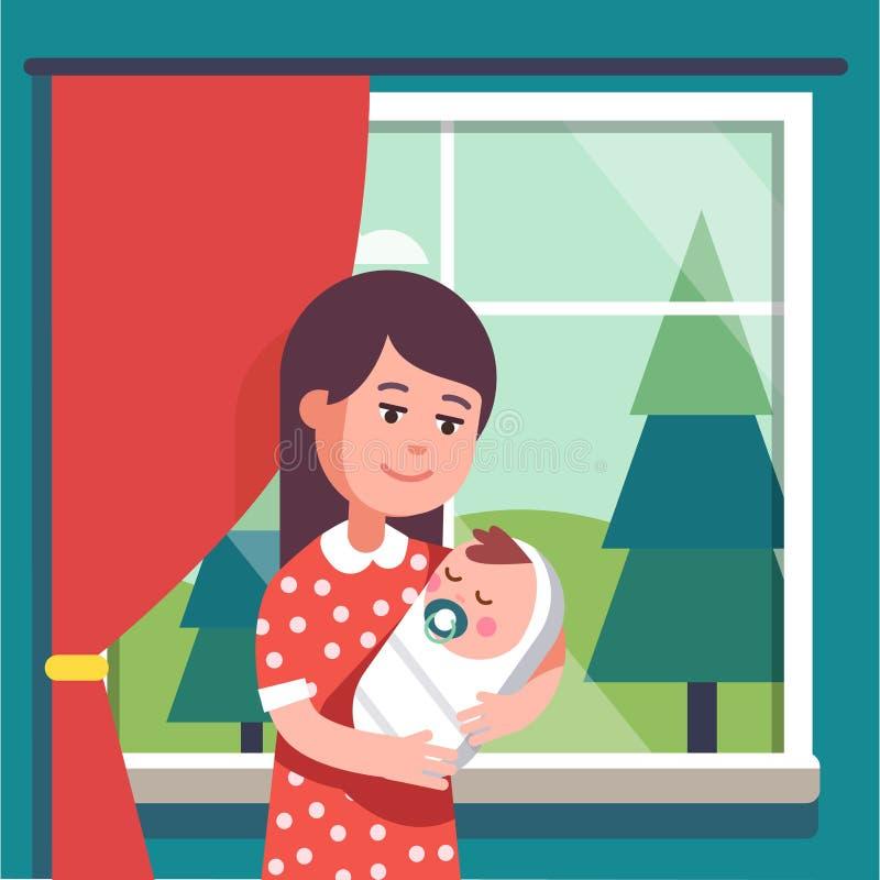 Bebê envolvido terra arrendada da mãe que suga o bocal ilustração do vetor