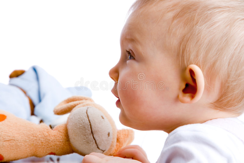 Bebê fascinado fotografia de stock royalty free