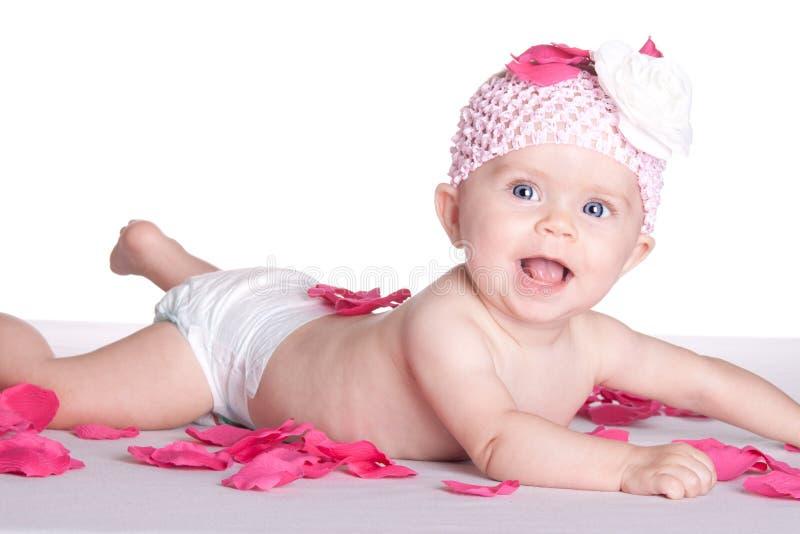 Bebê feliz da flor foto de stock royalty free