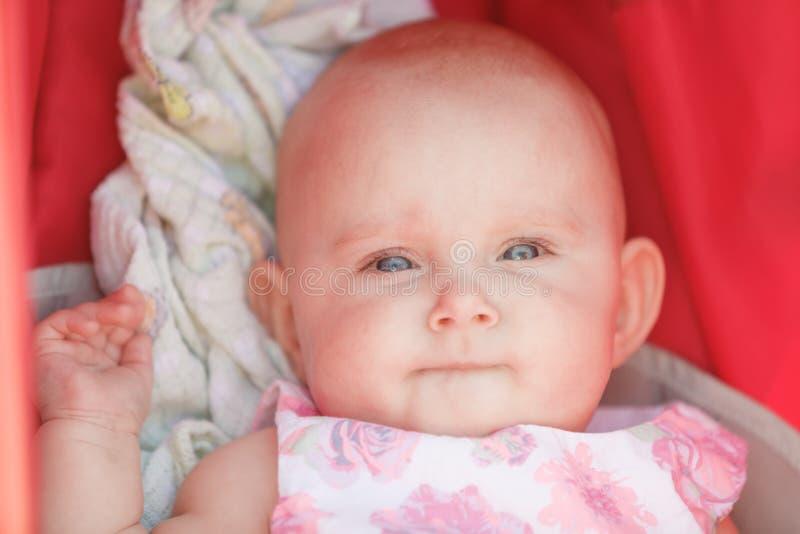 Bebê feliz pequeno no carrinho de criança imagens de stock royalty free