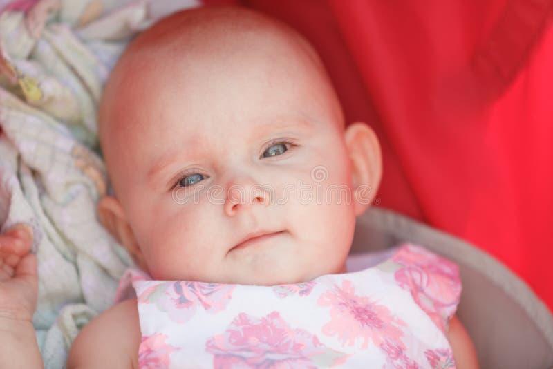 Bebê feliz pequeno no carrinho de criança foto de stock