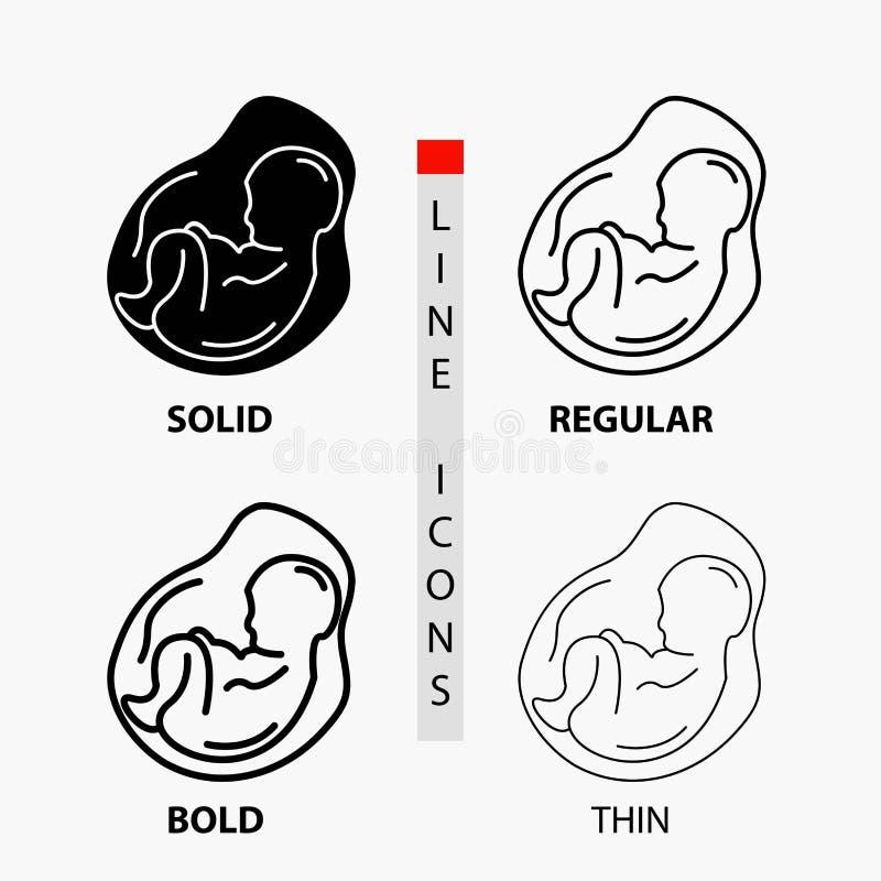 Bebê, gravidez, grávido, obstetrícia, ícone do feto na linha e no estilo finos, regulares, corajosos do Glyph Ilustra??o do vetor ilustração stock