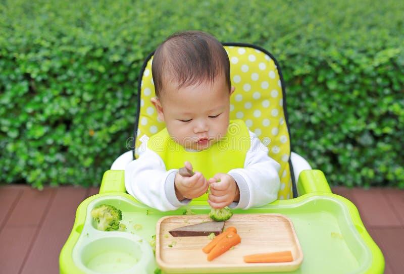 Bebê infantil asiático que come pelo bebê conduzido desmamando BLW Conceito dos alimentos de dedo imagens de stock