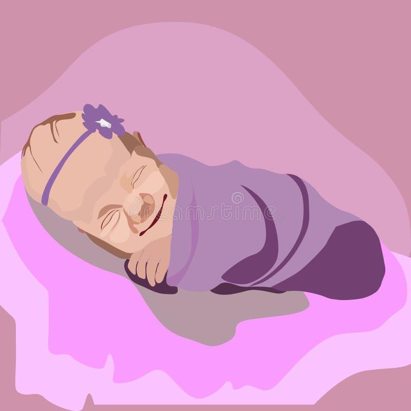 Bebê infantil envolvido em uma cobertura fotos de stock