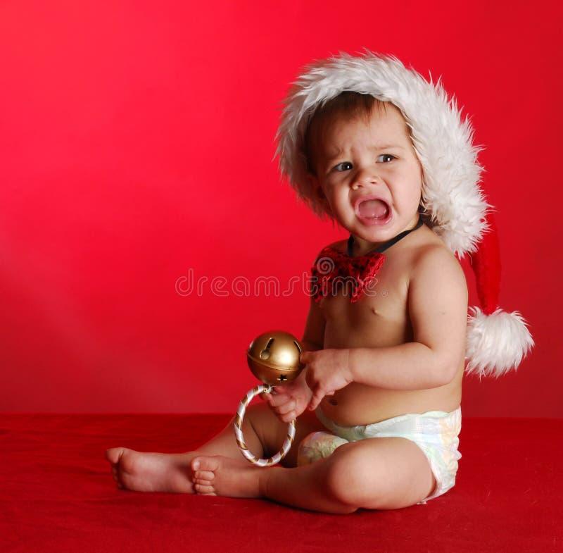 Bebê infeliz do Natal foto de stock