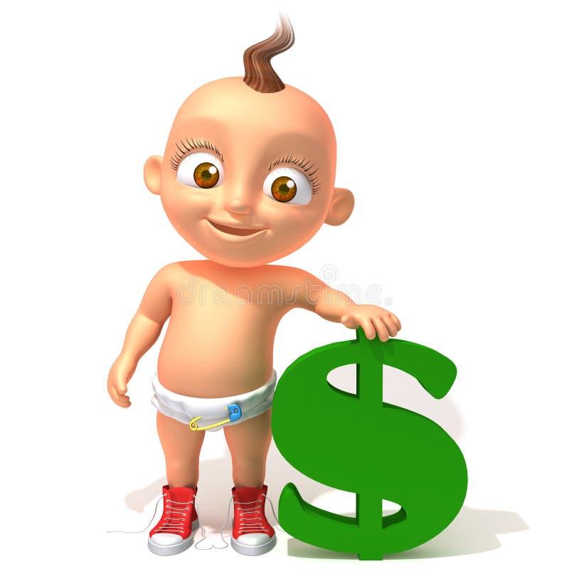 Bebê Jake com dolar ilustração royalty free