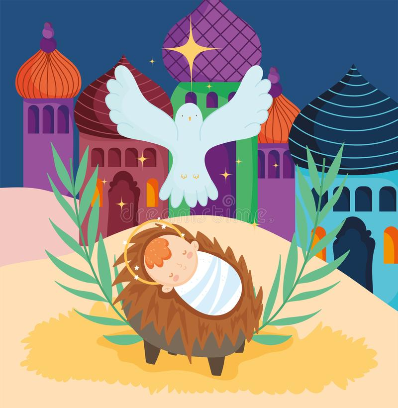 Bebê jesus crib e pombo estrela natividade alegre natal natal ilustração royalty free