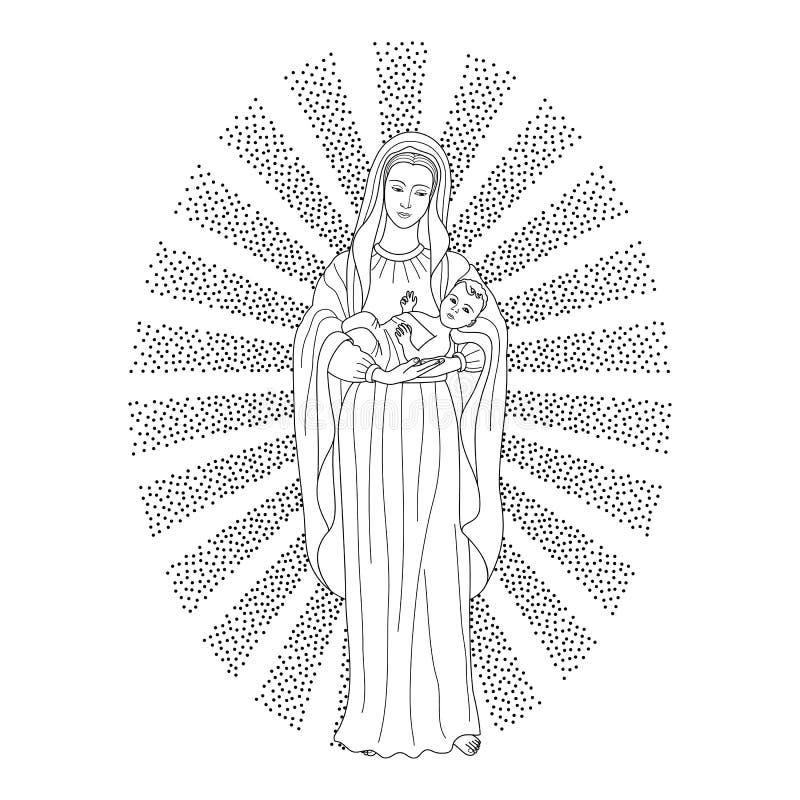 Bebê Jesus da terra arrendada de Mary de Virgin ilustração royalty free